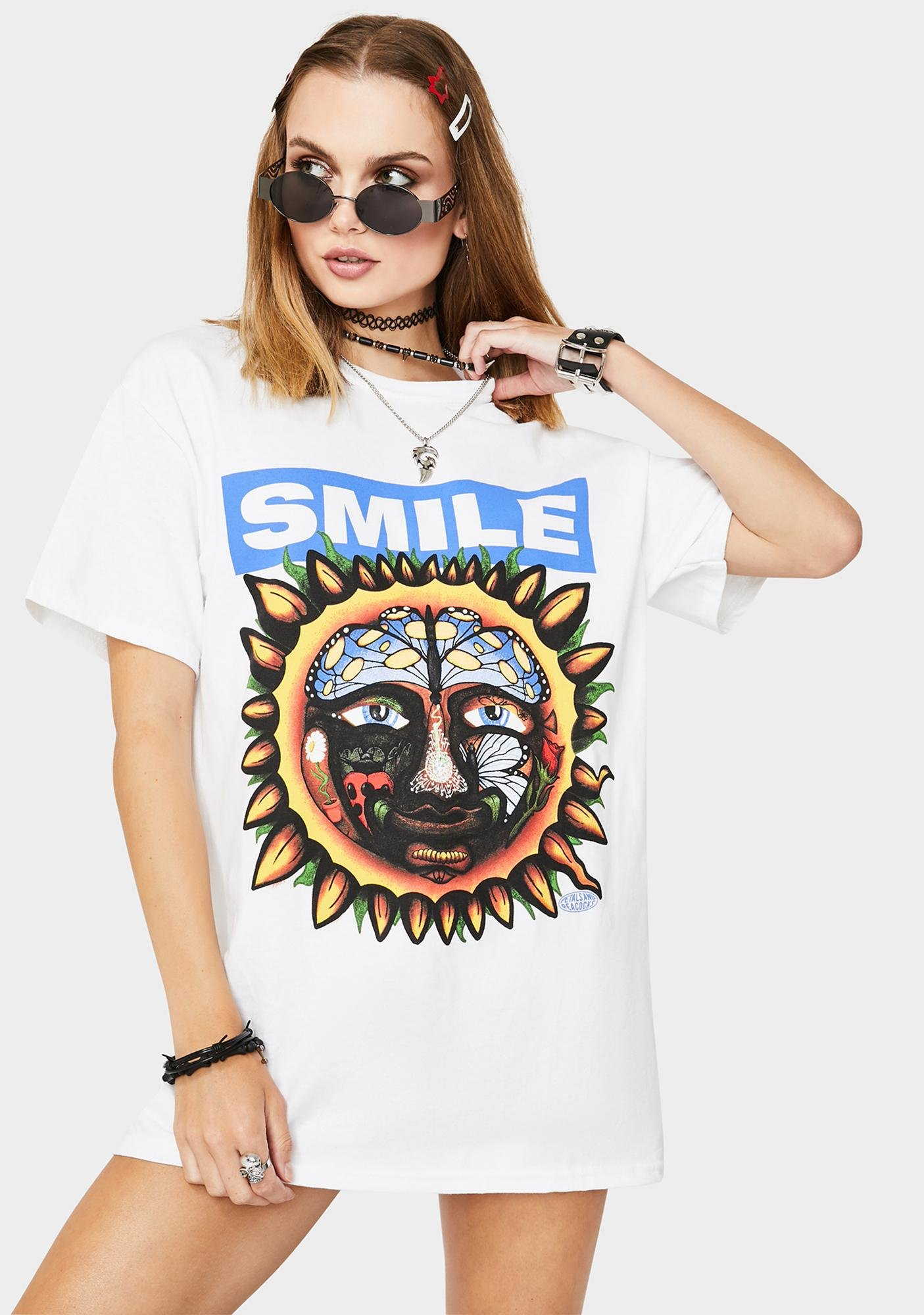 Petals and Peacocks White Smile Graphic Tee