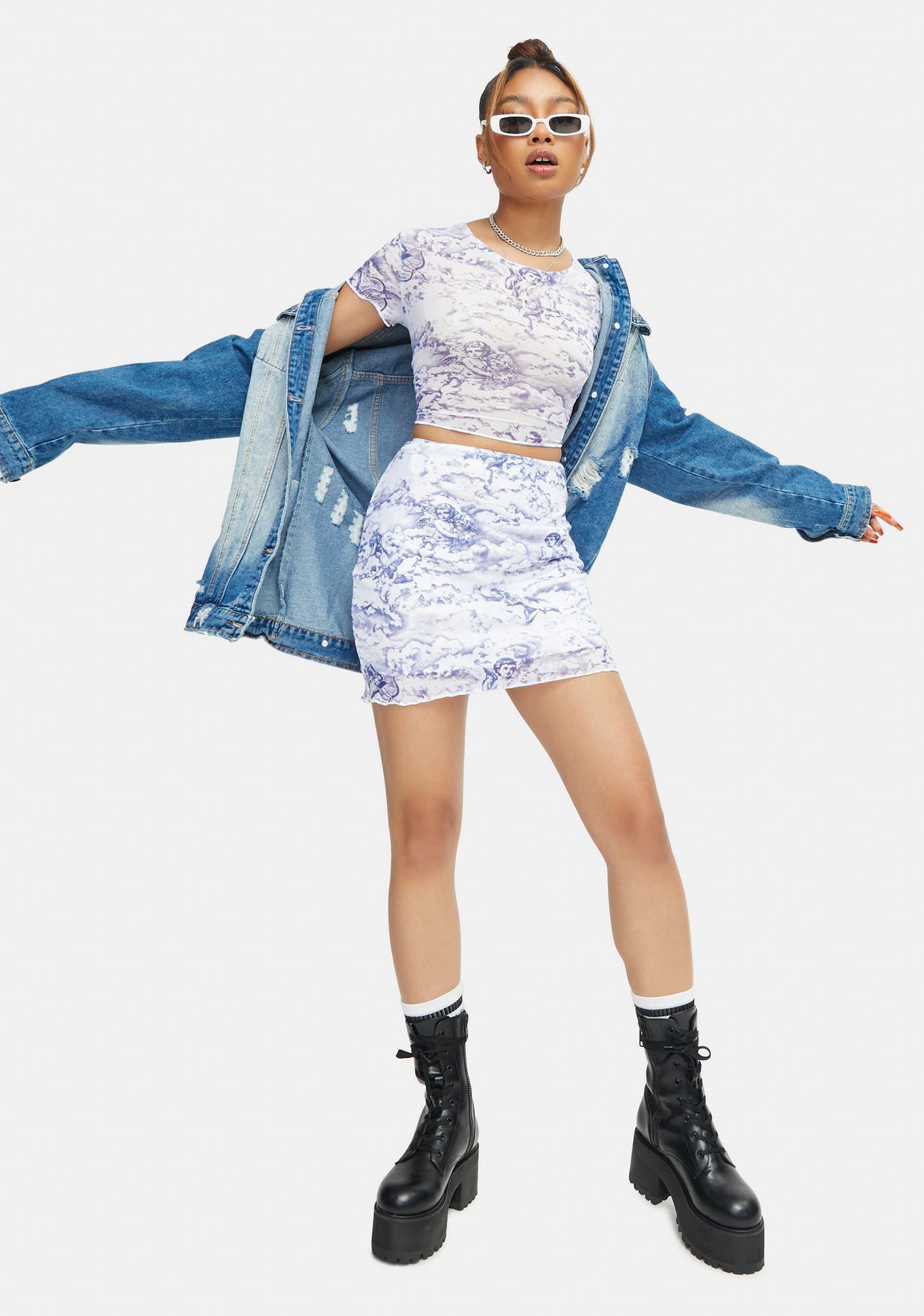Motel Cherub Mesh Kinnie Mini Skirt
