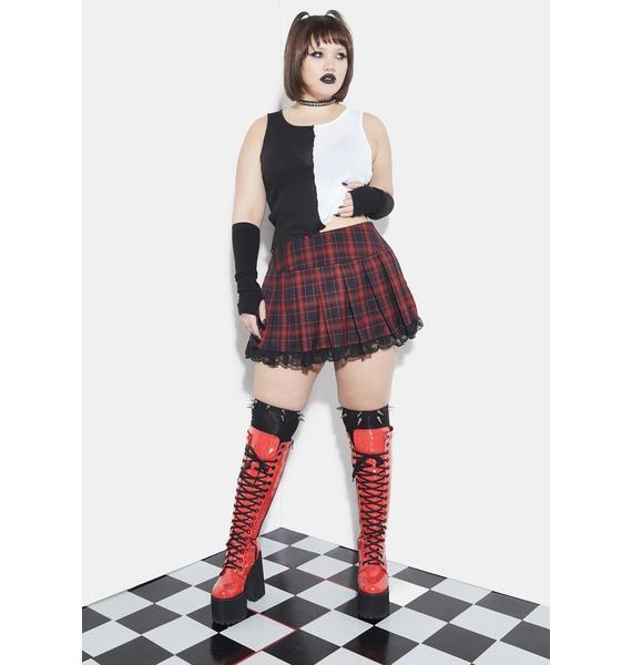 Current Mood She's Born To Burn Plaid Mini Skirt