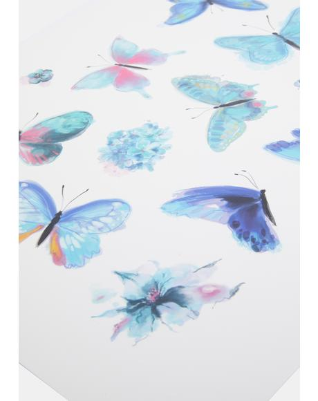 Blue Butterfly Temporary Tattoos