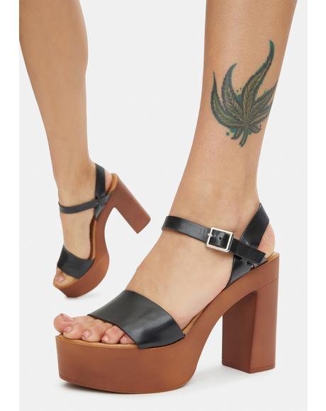 Noir Push N Pull Platform Sandals