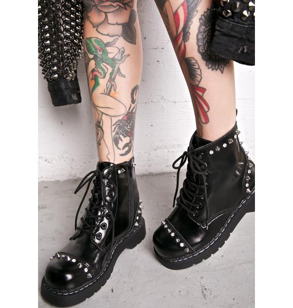 T.U.K. Anarchic Leather Studded Boots