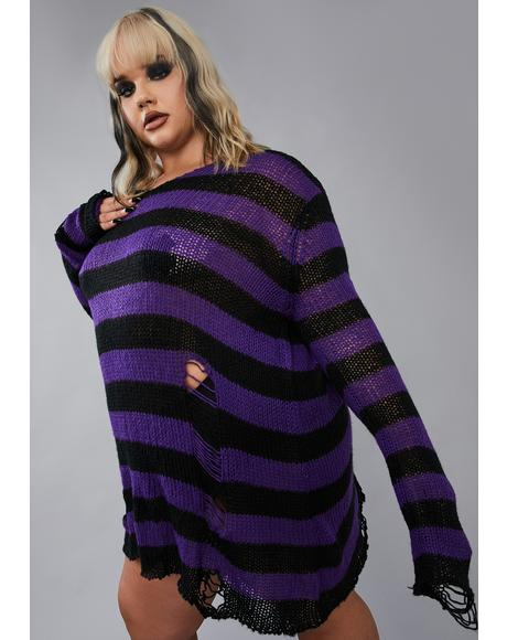 Amethyst My Eternal Nightmare Distressed Sweater