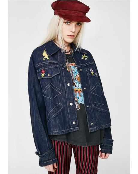 Vintage 70s Embroidered Denim Jacket