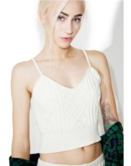 Let's Get Intimate Cable Crop Top
