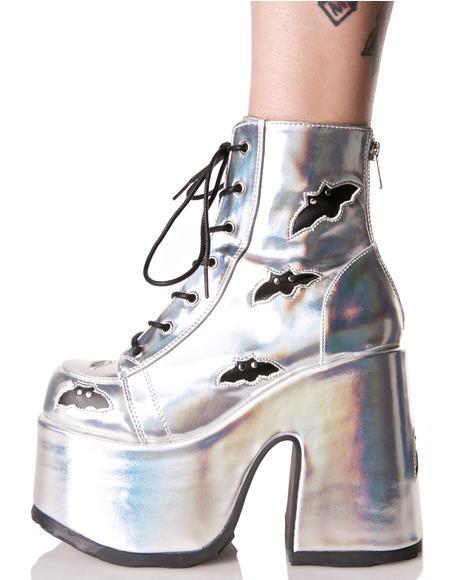 Holographic Megabat Platform Boots