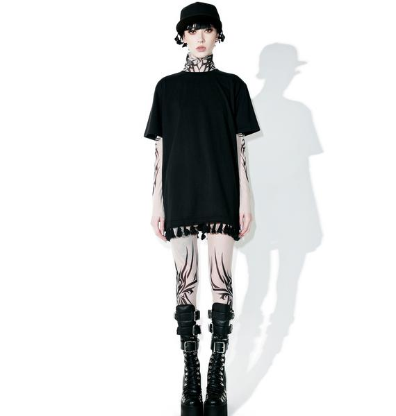 Black Scale Tassels Tee