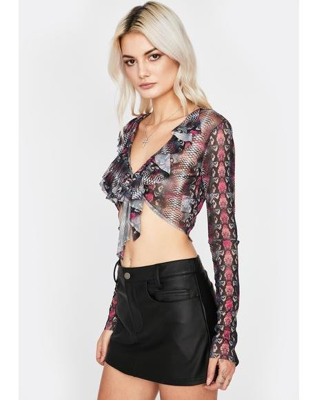 Slow Toxin Wrap Tie Top