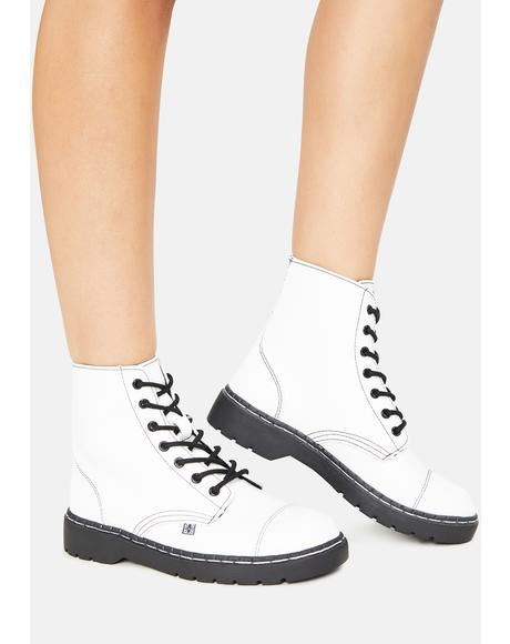 White TUKskin 7-Eye Capped Toe Boots