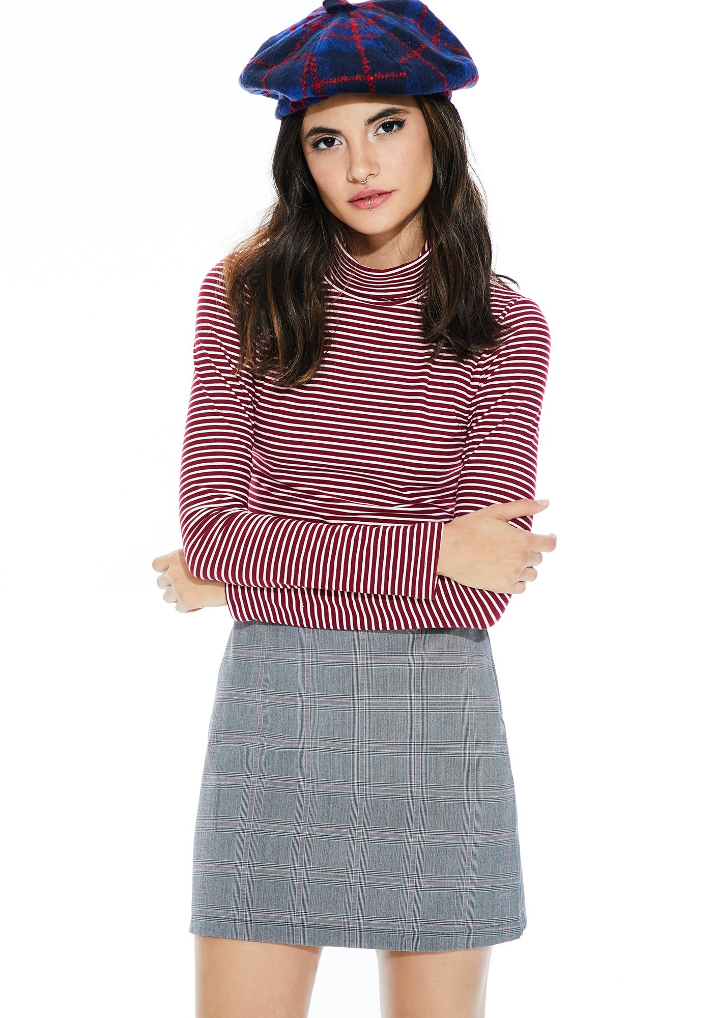 Wine Frances Turtleneck Top
