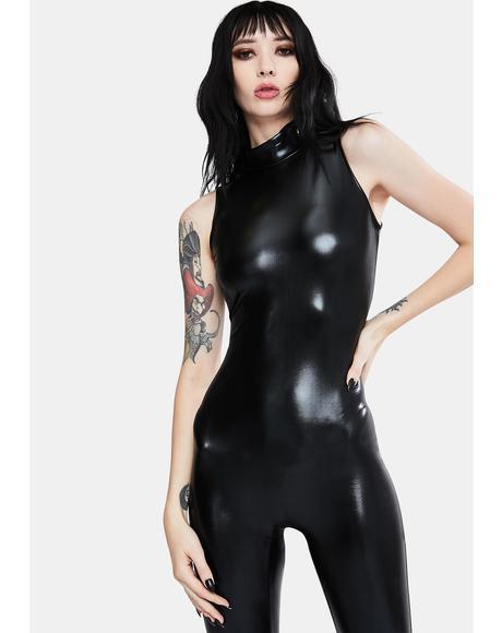 Black Metallic Mock Neck Catsuit