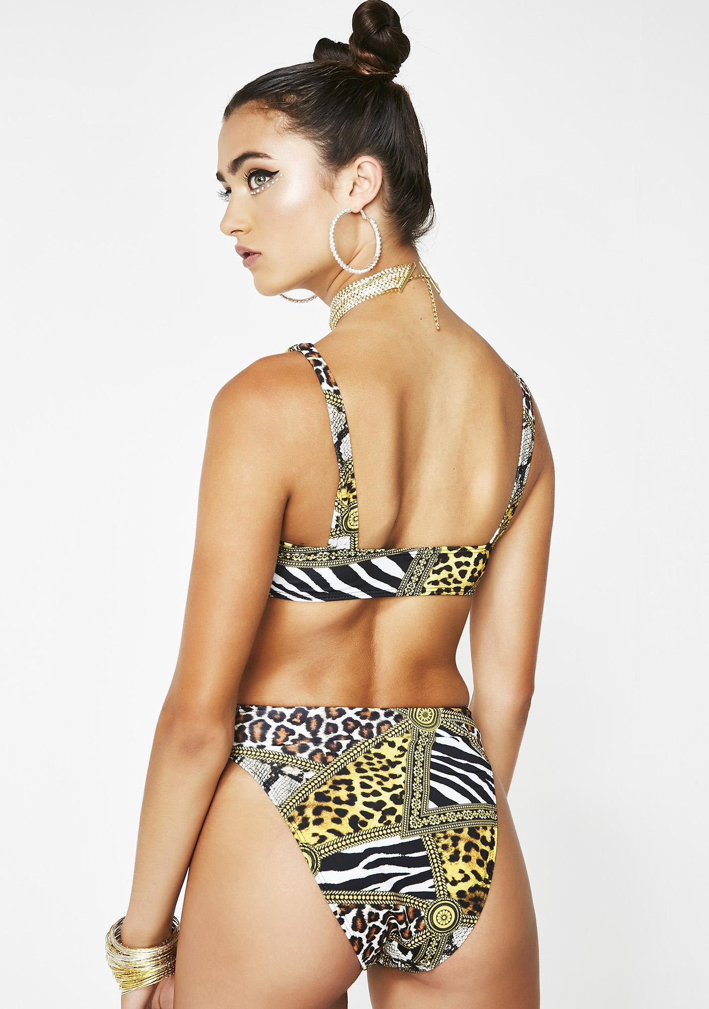 Jaded London Animal Print High Leg Bikini Bottoms