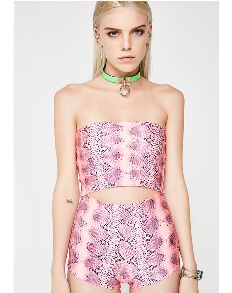Pink Snake Skin Tube Top