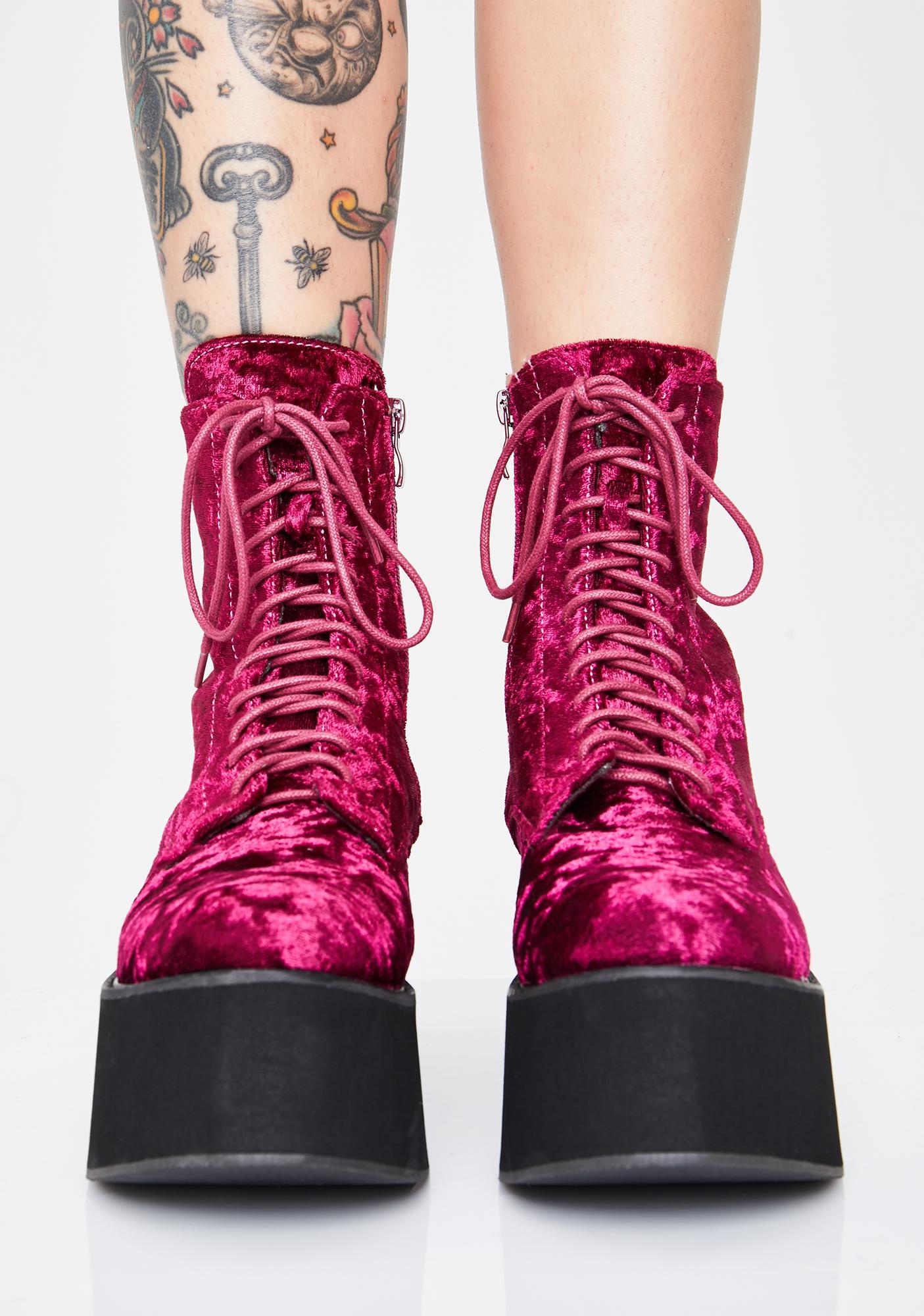 Koi Footwear Wine Oracle Velvet Boots