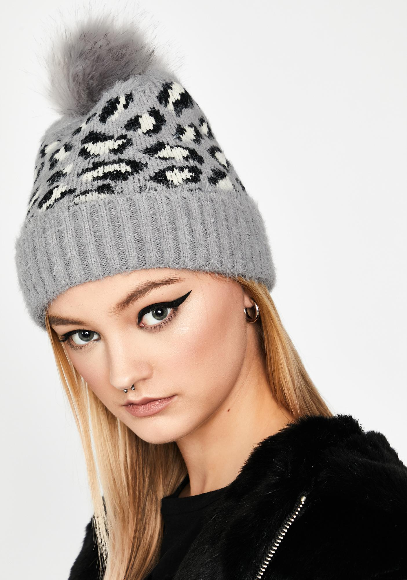 Slate Fierce Winter Leopard Beanie