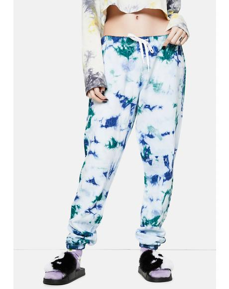 Washed Green Tie Dye Relaxed Sweatpants