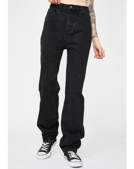 Washed Black Extra Long Straight Leg Jeans