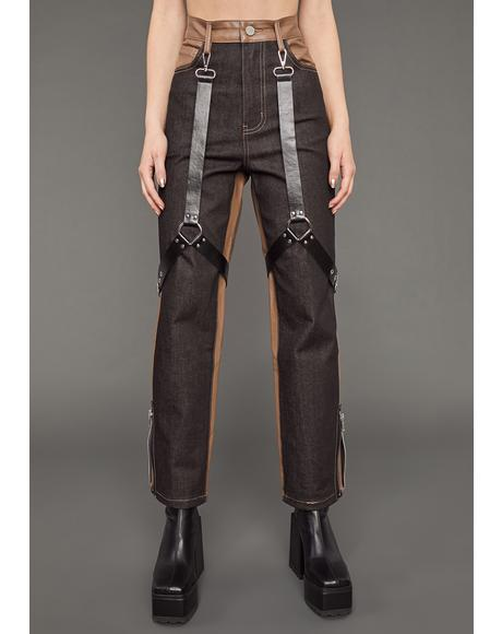 Match My Energy Two-Tone Harness Jeans