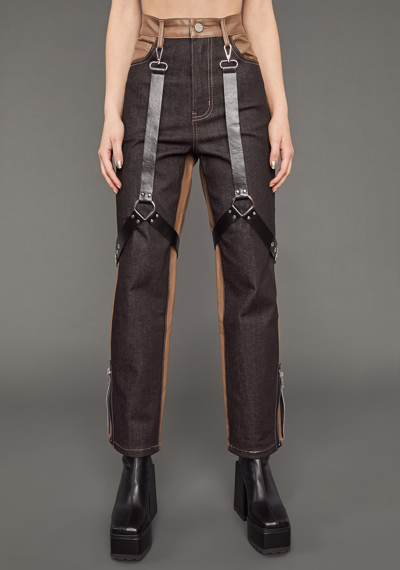 Poster Grl Match My Energy Two-Tone Harness Jeans