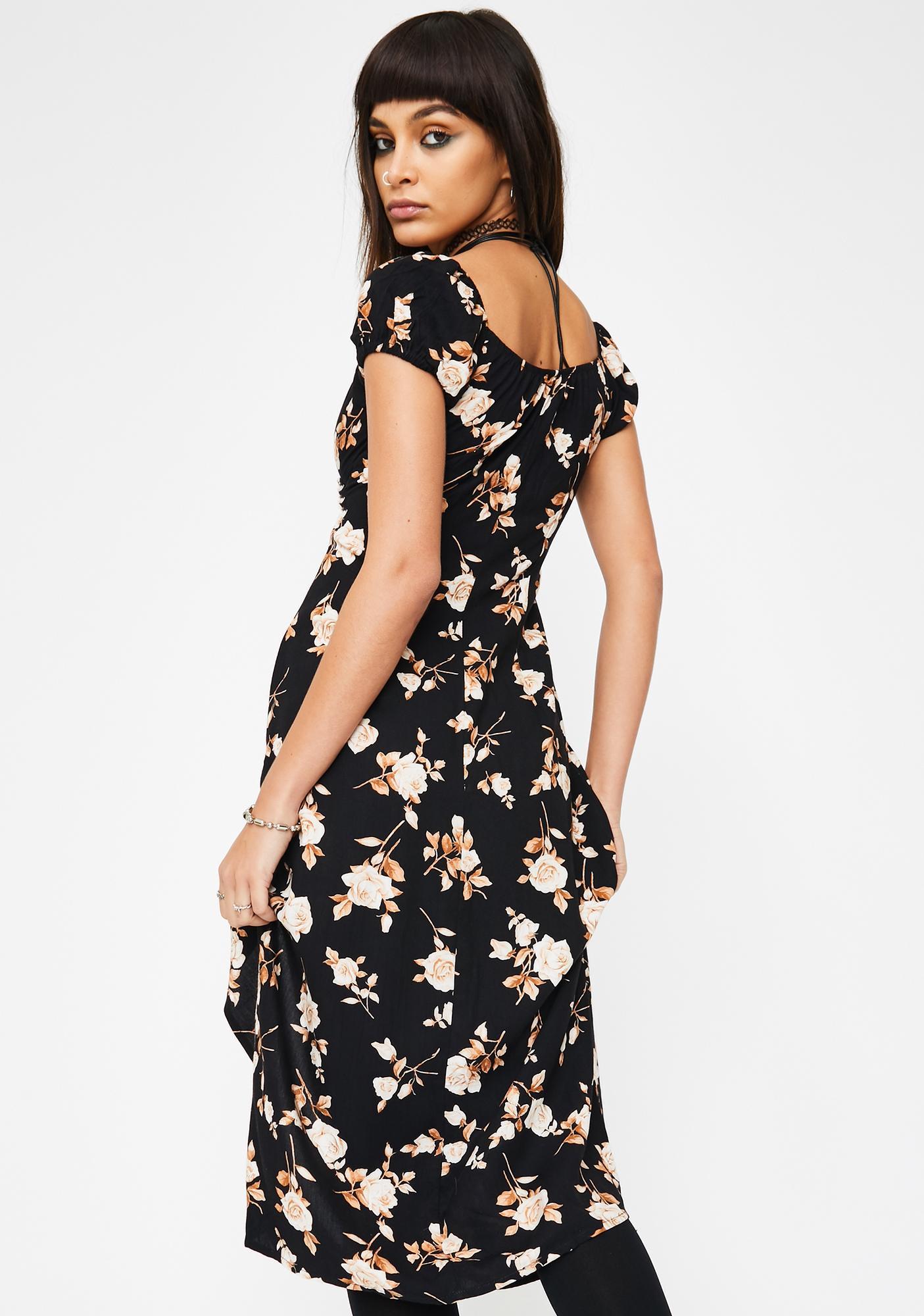Motel Peach Rose Milla Midi Dress