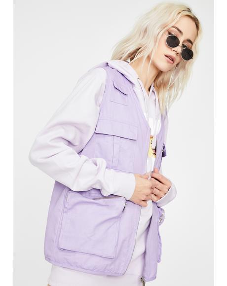 Purple Utility Style Gilet Jacket