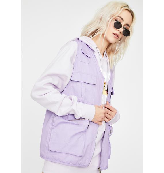 Daisy Street Purple Utility Style Gilet Vest