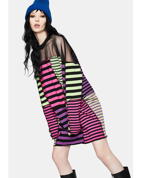 Aggy Striped Patchwork Dress