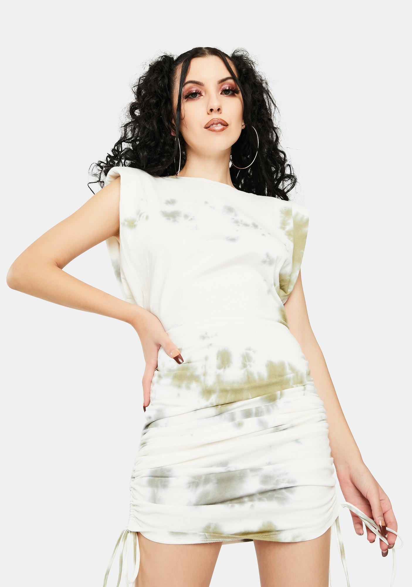 BY DYLN Khaki Tie Dye Miles Mini Dress