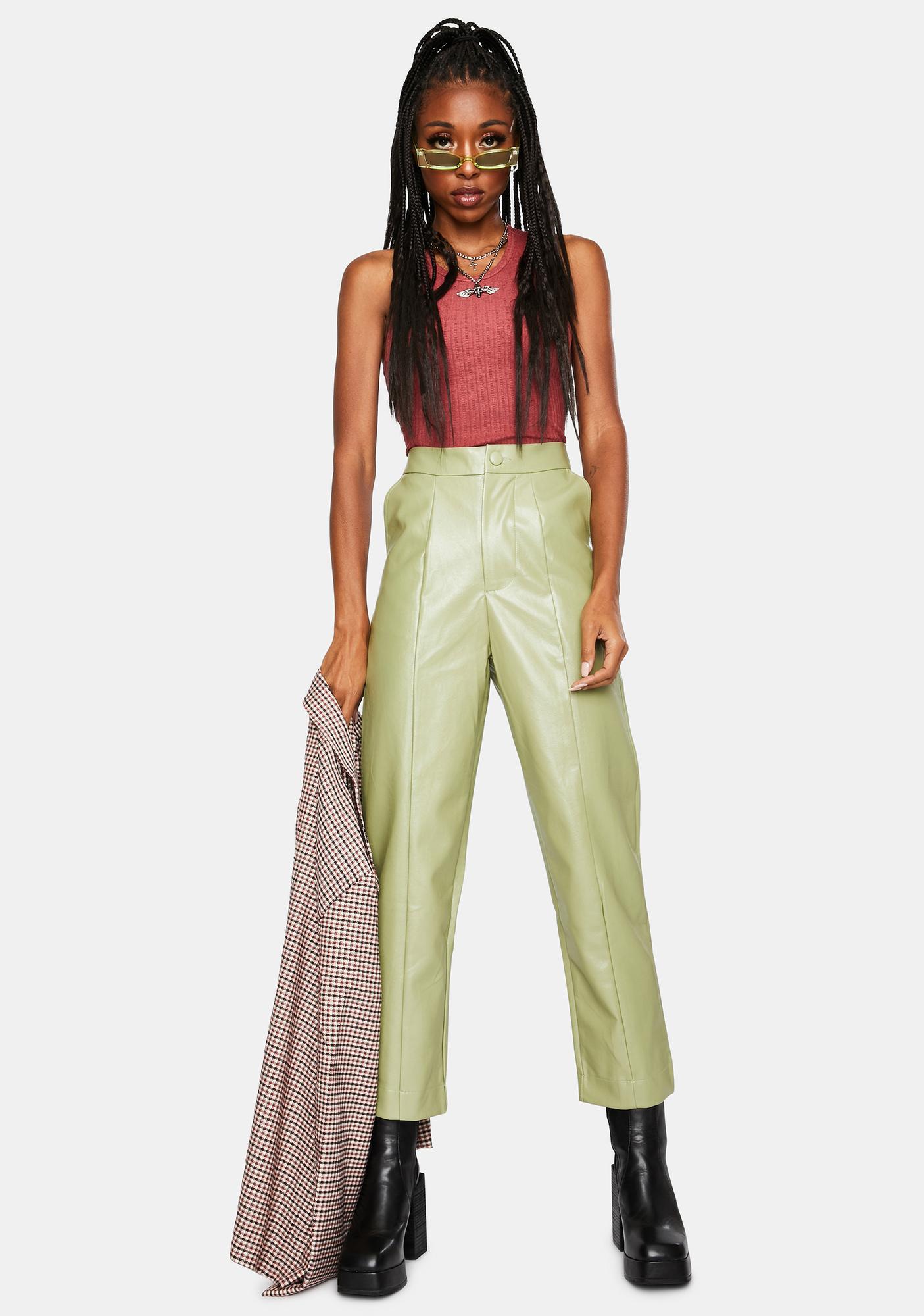 Daisy Street Vegan Leather Straight Leg Trousers