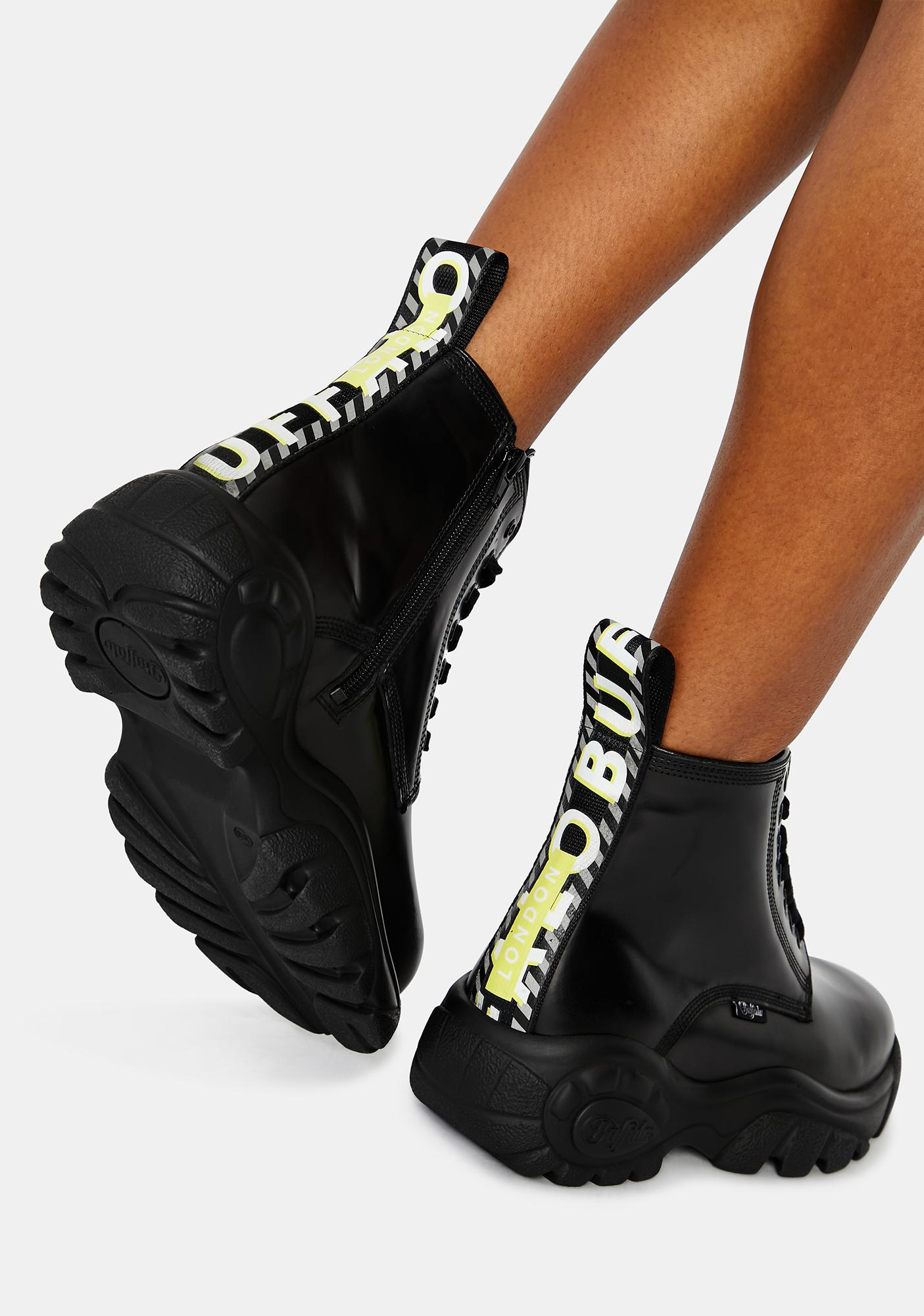 Buffalo London Black Calfskin Gillian Sneakers