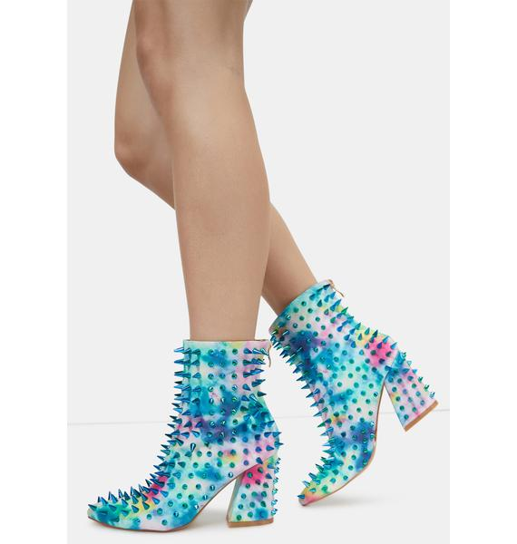 Tie Dye Throw A Fit Spike Ankle Boots