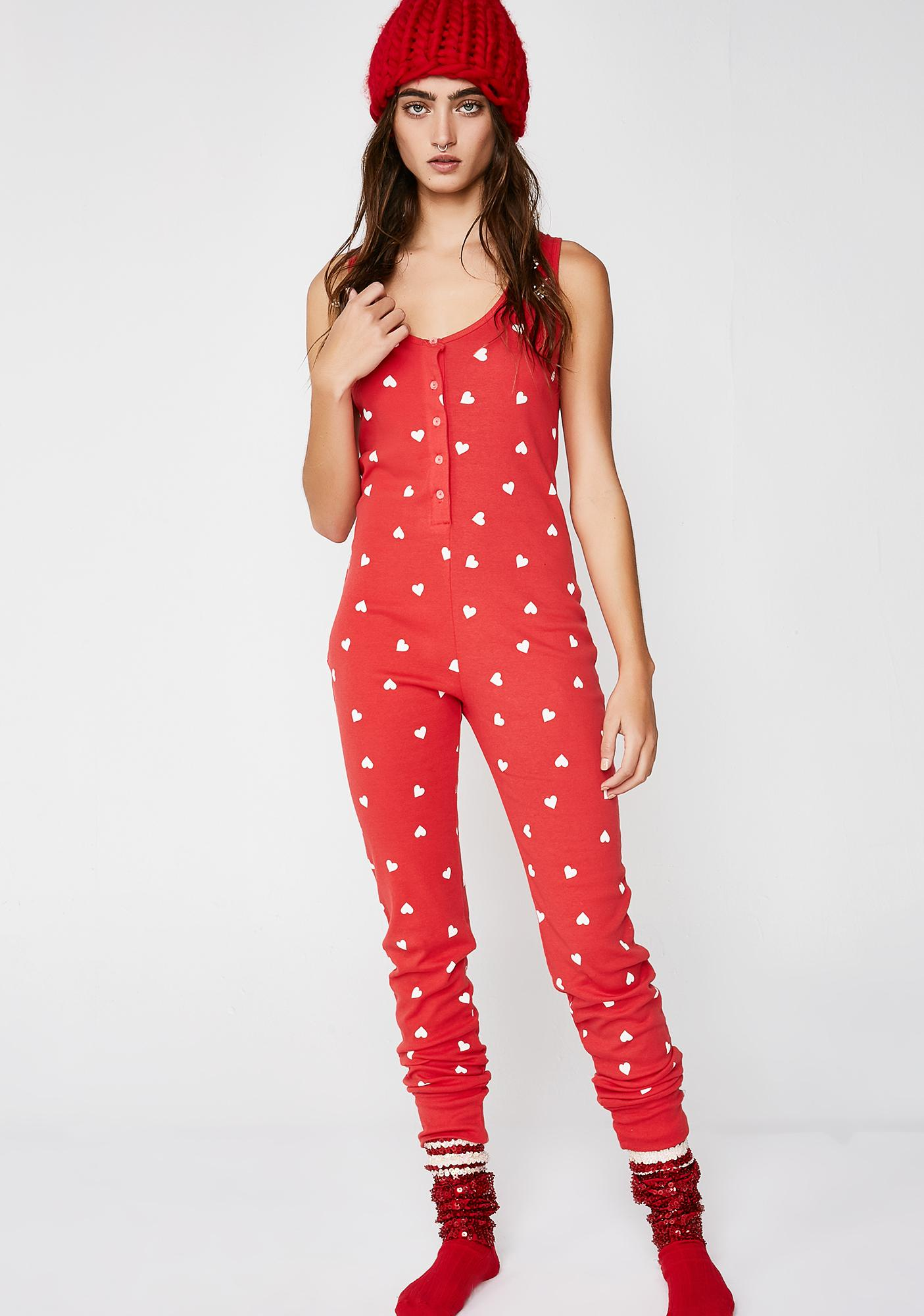 Wildfox Couture Falling Hearts Stay In Onesie