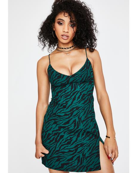 Forest Green Zebra Katya Slip Dress