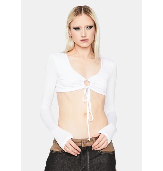 Blanc Big Moves Front Tie Crop Top