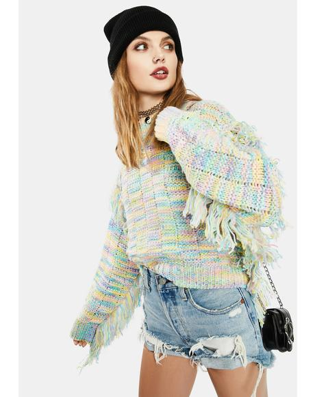 Blushful Love Fringe Sweater