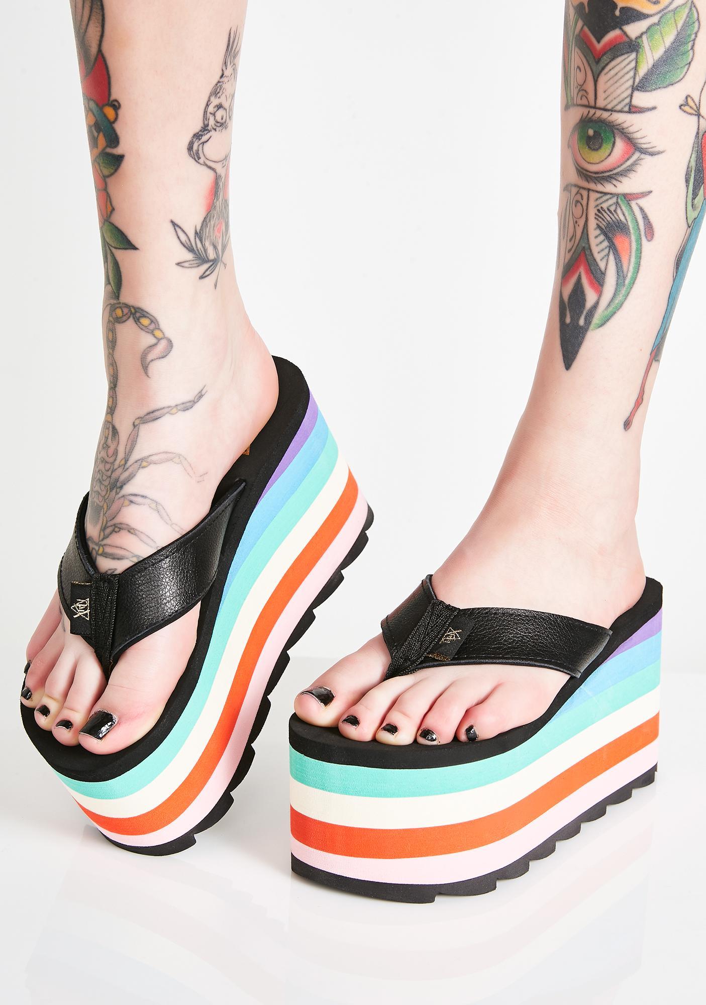 Y.R.U. Pixi Rainbow Platform Sandals