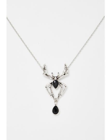 Latrodectus Variolus Spider Pendant Necklace