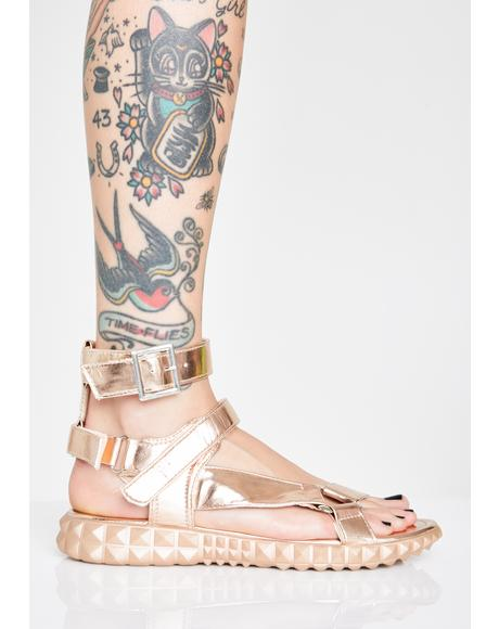 Gilded Demigod Gladiator Sandals