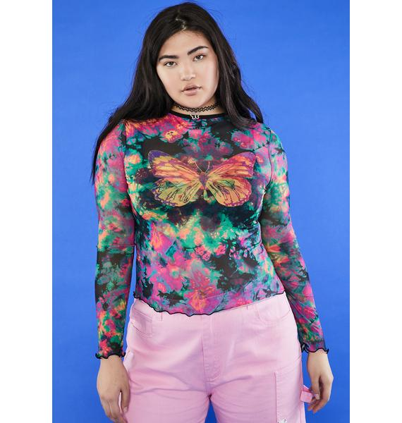 dELiA*s by Dolls Kill Lil Social Butterfly Mesh Top