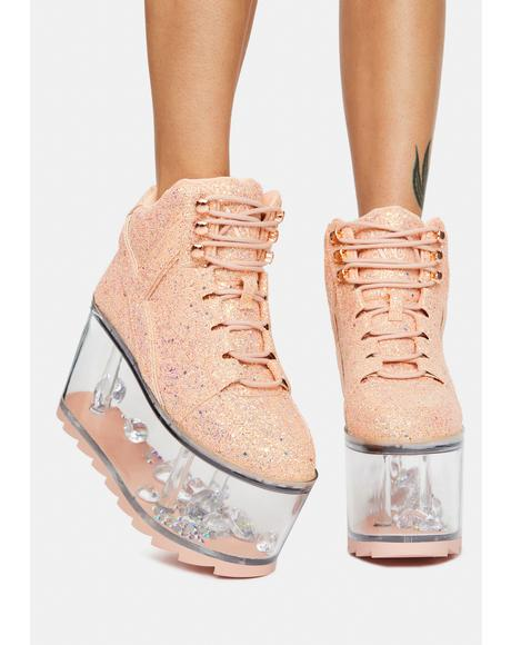 Pink Glitter Qloud Ultra Qozmo Platform Sneakers