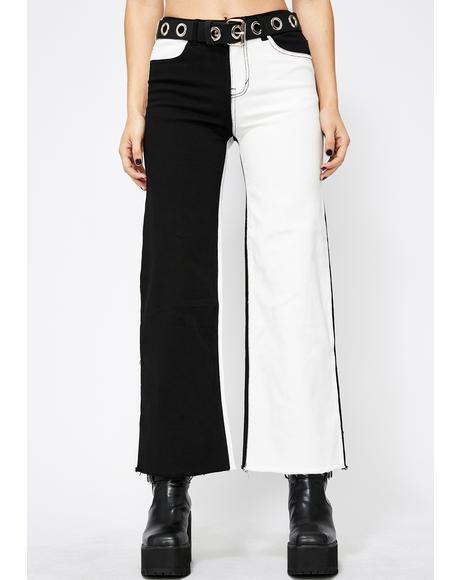 Monochrome Soul Wide Leg Jeans