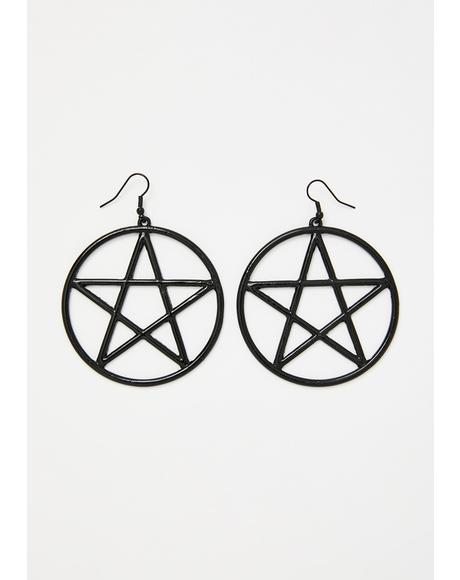 Power Over U Pentagram Earrings