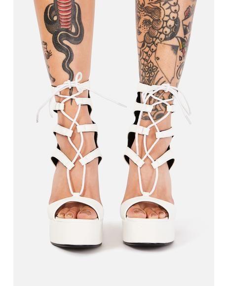 Angel Do Right By Me Lace Up Heels