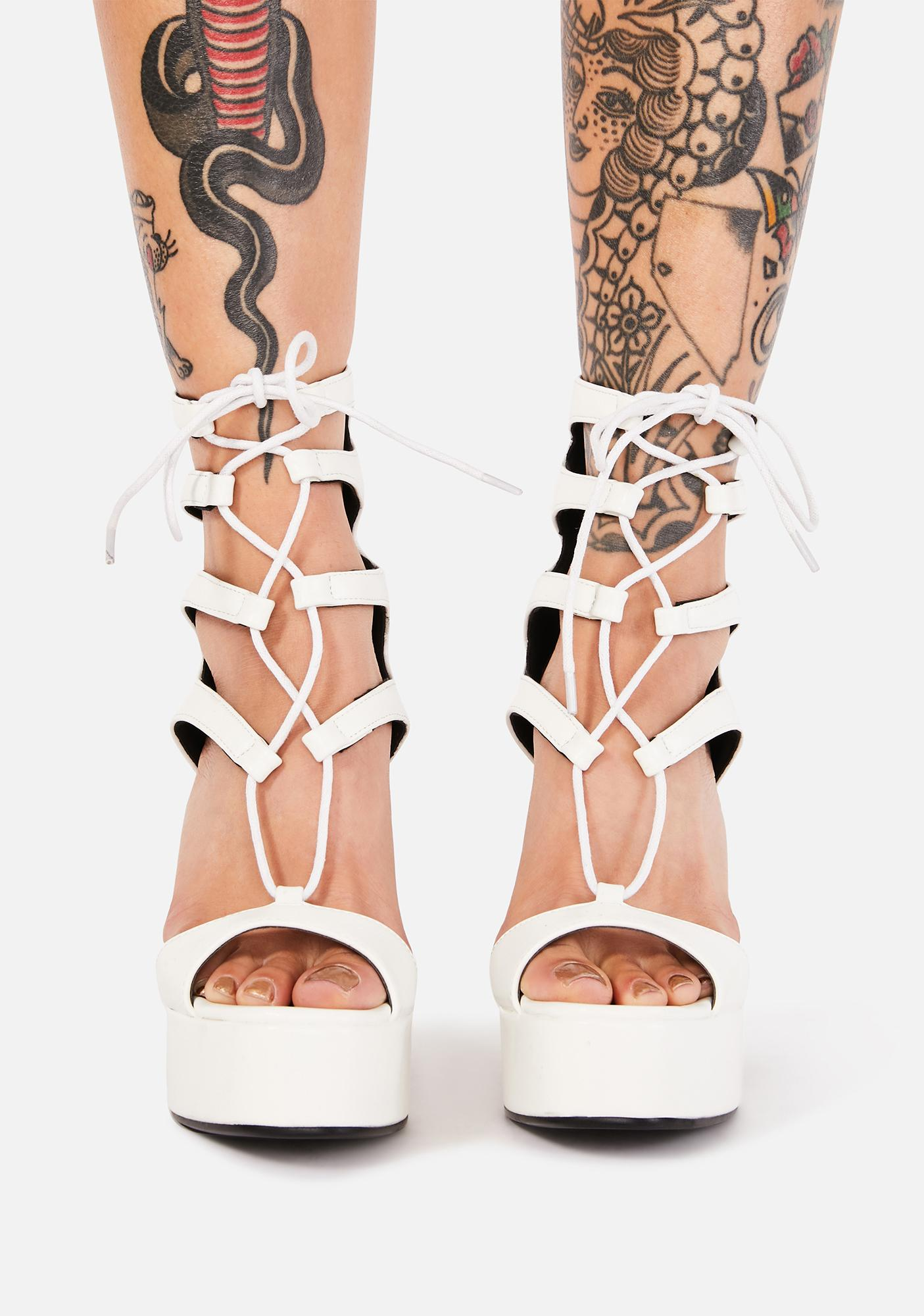 Lamoda Angel Do Right By Me Lace Up Heels