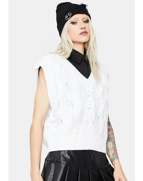 Meet Me On Campus Cable Knit Sweater Vest
