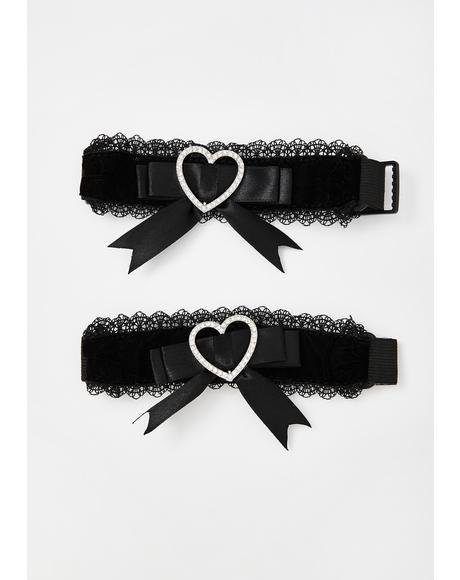 Tell Tale Heart Lace Garters