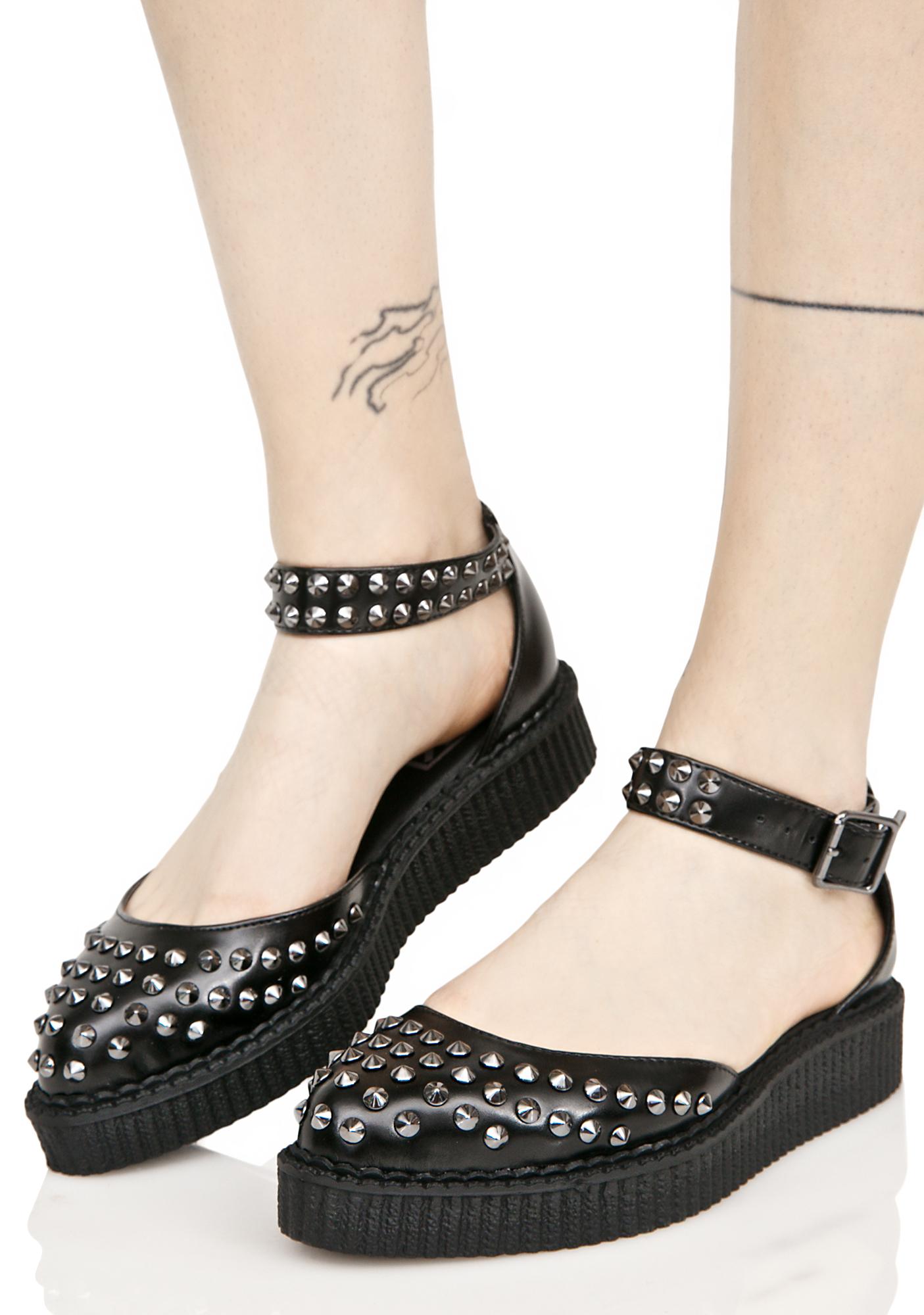 T.U.K. Black Leather Flats