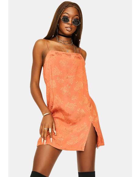 Satin Rose Copper Datista Dress