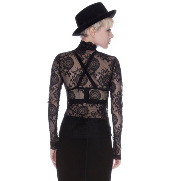 Lip Service Black List Stretch Lace Long Sleeve Top