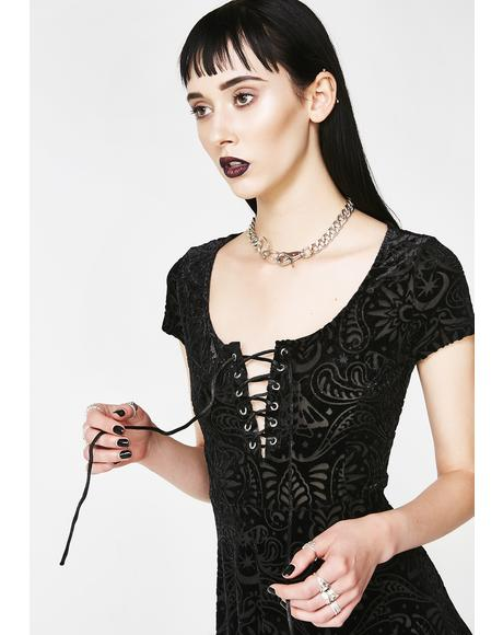 Angelyn Burnout Velvet Dress